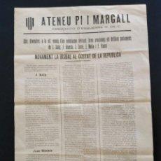 Coleccionismo: ATENEU PI I MARGALL. ASSOCIACIÓ D'ESQUERRA REPUBLICAN DE CATALUNYA.MITIN A LA BISBAL D'EMPORDÀ. Lote 288001103