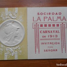Coleccionismo: ANTIGUA INVITACION PARA SEÑORA.BAILE DE MASCARAS.SOCIEDAD LA PALMA.CARNAVAL 1913. REUS TARRAGONA.. Lote 288227403
