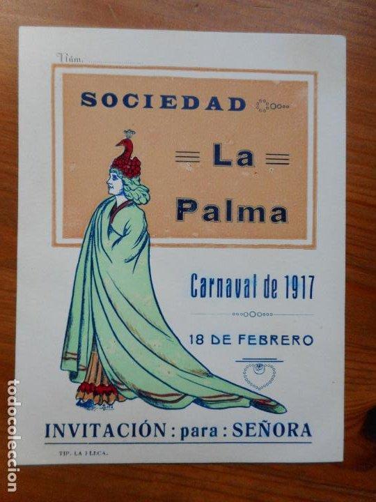 ANTIGUA INVITACION PARA SEÑORA.SOCIEDAD LA PALMA.CARNAVAL 1917. REUS TARRAGONA. (Coleccionismo - Laminas, Programas y Otros Documentos)