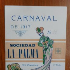 Coleccionismo: ANTIGUA INVITACION PARA SEÑORA.SOCIEDAD LA PALMA.CARNAVAL 1917. REUS TARRAGONA.. Lote 288227748