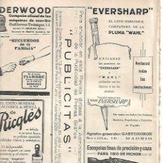Coleccionismo: AÑO 1924 RECORTE PRENSA PUBLICIDAD LAPIZ EVERSHARP COMPAÑERO PLUMA ESTILOGRAFICA WAHL. Lote 288535393