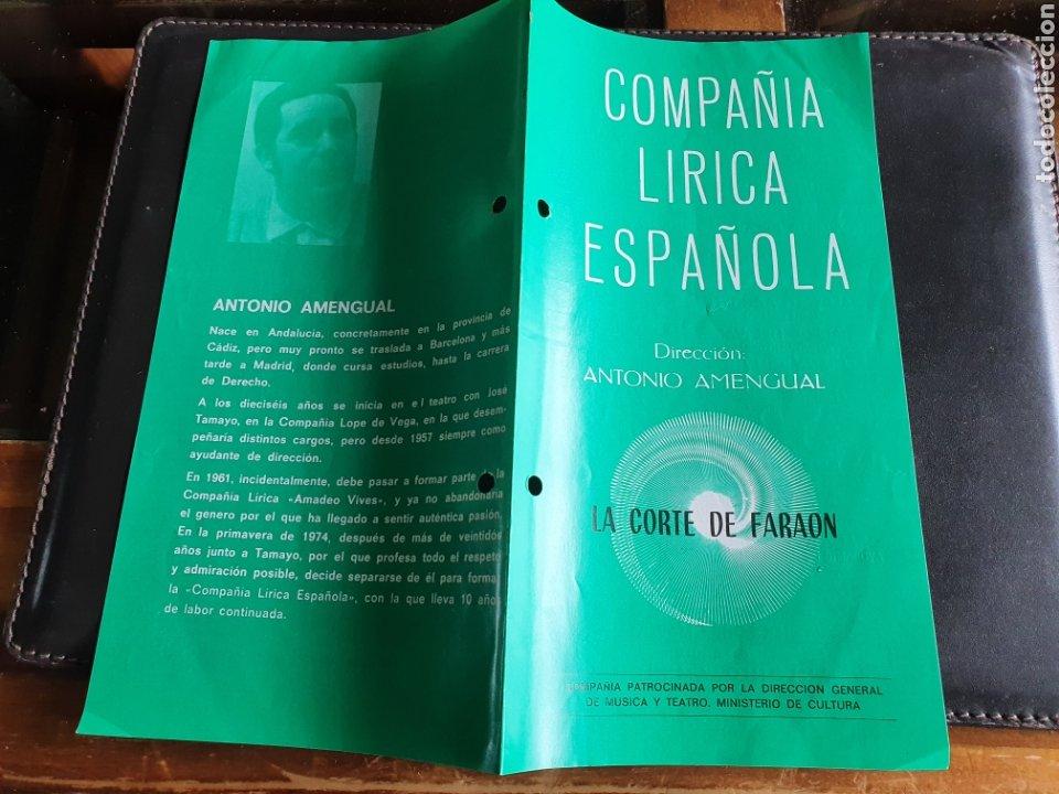 PROGRAMA TEATRO COMPAÑÍA LÍRICA ESPAÑOLA LA CORTE DEL FARAON (Coleccionismo - Laminas, Programas y Otros Documentos)