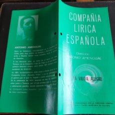 Coleccionismo: PROGRAMA TEATRO COMPAÑÍA LÍRICA ESPAÑOLA LA VIUDA ALEGRE. Lote 288655848