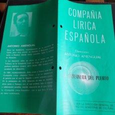 Coleccionismo: PROGRAMA TEATRO COMPAÑÍA LÍRICA ESPAÑOLA LA TABERNERA DEL PUERTO. Lote 288655933