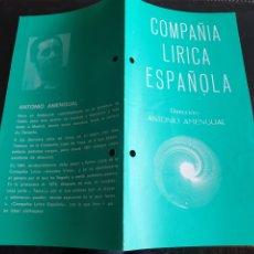 Coleccionismo: PROGRAMA TEATRO COMPAÑÍA LÍRICA ESPAÑOLA KATIUSKA. Lote 288656028
