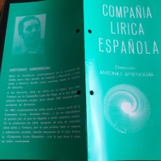 Coleccionismo: PROGRAMA TEATRO COMPAÑÍA LÍRICA ESPAÑOLA LA DEL MANOJO DE ROSAS. Lote 288656193