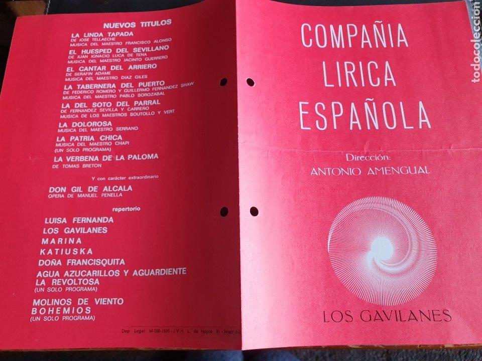 PROGRAMA TEATRO COMPAÑÍA LÍRICA ESPAÑOLA LOS GAVILANES (Coleccionismo - Laminas, Programas y Otros Documentos)