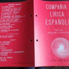 Coleccionismo: PROGRAMA TEATRO COMPAÑÍA LÍRICA ESPAÑOLA LOS GAVILANES. Lote 288656348