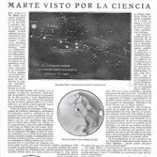 Coleccionismo: AÑO 1924 RECORTE PRENSA ASTRONOMIA EL PLANETA MARTE VISTO POR LA CIENCIA TRAYECTORIA DEL PLANETA. Lote 289893328