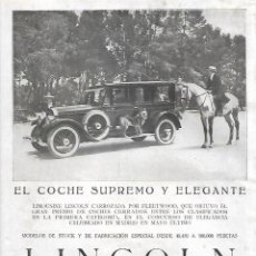 Coleccionismo: AÑO 1924 RECORTE PRENSA PUBLICIDAD COCHE AUTOMOVIL LINCOLN FORD MOTOR COMPANY. Lote 289895258