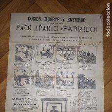 Coleccionismo: COGIDA MUERTE Y ENTIERRO. PACO APARICI (FABRILO). AUCA, LA MUERTE DE FABRILO. 43X32 CM.. Lote 292205378