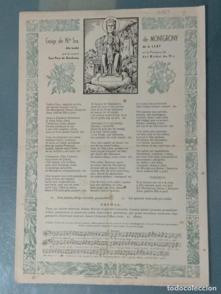 GOIGS DE Nª SRA. DE MONTGRONY (Coleccionismo - Laminas, Programas y Otros Documentos)