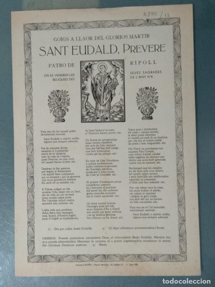 GOIGS DE SANT EUDALD, PREVERE. (Coleccionismo - Laminas, Programas y Otros Documentos)