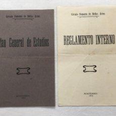 Coleccionismo: PLAQUETTE Y DIPTICO. CÍRCULO FOMENTO DE BELLAS..,PLAN GENERAL DE ESTUDIOS Y REGLAMENTO INTERNO. 1914. Lote 293912058
