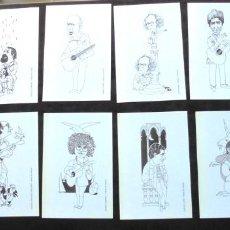 Colecionismo: 12 CARICATURAS POSTALES CANTAUTORES, DIBUJO ALFREDO. LLUÍS LLACH, PABLO GUERRERO, MIKEL LABOA, JAUME. Lote 293973838