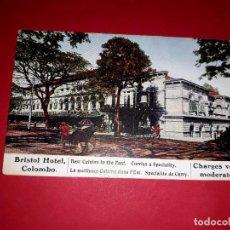 Coleccionismo: ANTIGUA PUBLICIDAD BRISTOL HOTEL COLOMBO (EN EL DORSO PRECIOS DE HOTEL, DISTINTAS MANERAS DE LLEGAR. Lote 295712263