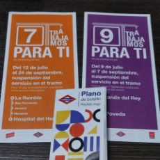 Coleccionismo: LOTE PLANO METRO MADRID ENERO 2002 Y PLANOS DE OBRAS VERANO. Lote 296053663