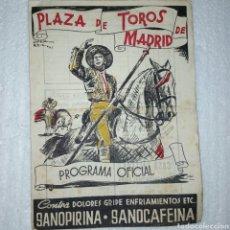 Coleccionismo: PROGRAMA OFICIAL DE TOROS DE MADRID. AÑO 1943. 19.03.1943. Lote 297116213