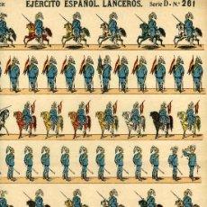 Coleccionismo Recortables: RECORTABLE PALUZIE EJERCITO ESPAÑOL SERIE D- Nº 261 LANCEROS. Lote 4713336