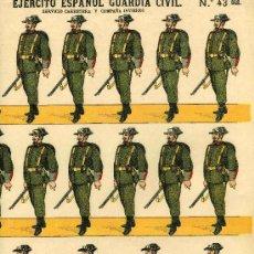 Coleccionismo Recortables: RECORTABLE PALUZIE SERIE EJERCITO ESPAÑOL Nº 43 BIS, GUARDIA CIVIL. Lote 4713372