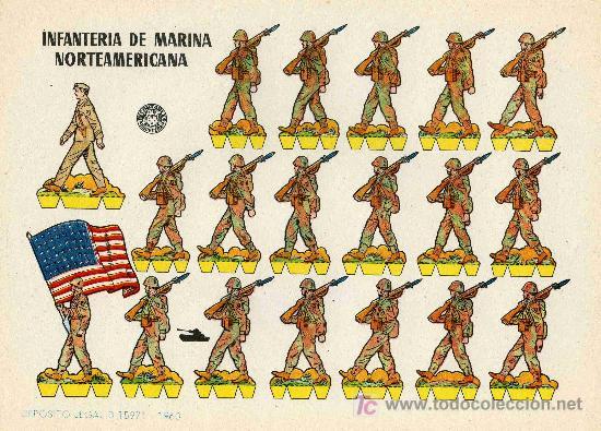 RECORTABLE BRUGUERA INFANTERIA DE MARINA NORTEAMERICANA (Coleccionismo - Recortables - Soldados)