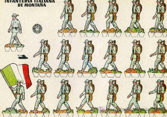 RECORTABLE BRUGUERA INFANTERIA ITALIANA DE MONTAÑA (Coleccionismo - Recortables - Soldados)