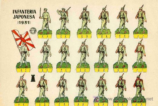 RECORTABLE BRUGUERA INFANTERIA JAPONESA (1.931) (Coleccionismo - Recortables - Soldados)