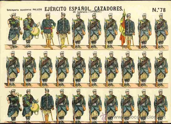 RECORTABLE DE SOLDADOS: EJERCITO ESPAÑOL: CAZADORES (PALUZIE NUM. 78) (Coleccionismo - Recortables - Soldados)