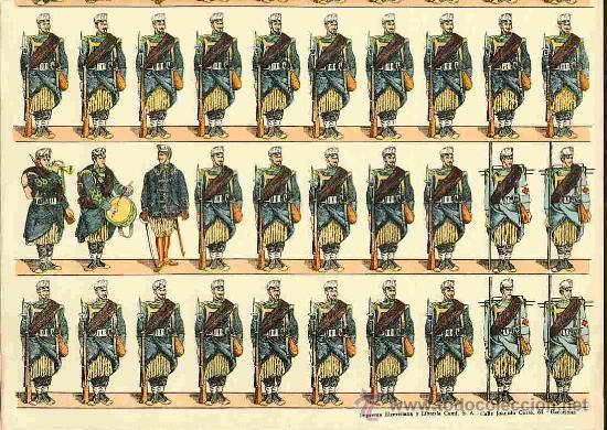 Coleccionismo Recortables: Recortable de soldados: Ejercito español: Cazadores (Paluzie num. 78) - Foto 2 - 34137093