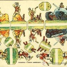 Coleccionismo Recortables: RECORTABLE DE SOLDADOS: INFANTERIA Y TANQUE AMERICANOS. Lote 13462080
