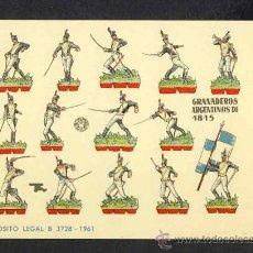 Coleccionismo Recortables: RECORTABLE DE SOLDADOS: GRANADEROS ARGENTINOS DE 1815. TAMAÑO PEQUEÑO (17 X 12 CMS) (ED.BRUGUERA). Lote 14979333