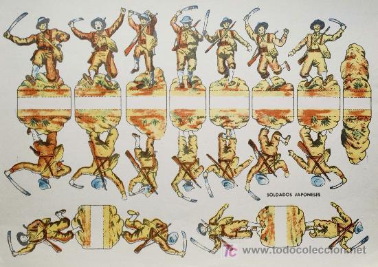 RECORTABLE DE SOLDADOS. SOLDADOS JAPONESES . ORIGINAL. AÑOS 50. (Coleccionismo - Recortables - Soldados)