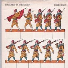 Coleccionismo Recortables: RECORTABLES BELUM PLIEGO Nº 1. REGULARES DE INFANTERIA (33X16,5). Lote 19855611