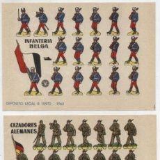 Coleccionismo Recortables: RECORTABLES BRUGUERA (12X17) LOTE DE 2: CAZADORES ALEMANES E INFANTERÍA BELGA. AÑO 1960.. Lote 20127336