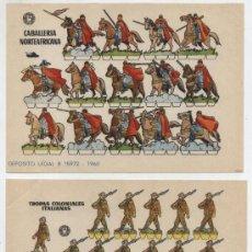 Coleccionismo Recortables: RECORTABLES BRUGUERA (12X17) LOTE DE 2: TROPAS COLONIALES ITALIANAS Y CABALLERÍA NORTE. AÑO 1960.. Lote 20128060