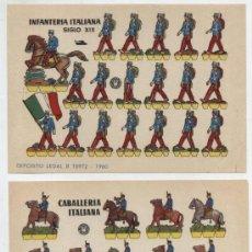 Coleccionismo Recortables: RECORTABLES BRUGUERA (12X17) LOTE DE 2: INFANTERÍA ITALIANA SIGLO XIX Y CABALLERÍA IT. DE AÑO 1960.. Lote 20128205