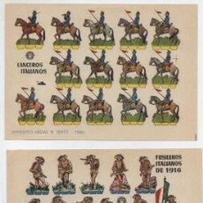 Coleccionismo Recortables: RECORTABLES BRUGUERA (12X17) LOTE DE 2: FUSILEROS ITALIANOS DE 1916 Y LANCEROS ITALIANO. AÑO 1960.. Lote 20128241