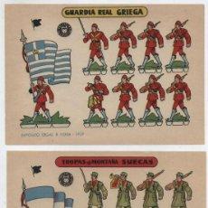 Coleccionismo Recortables: RECORTABLES BRUGUERA (12X17) LOTE DE 2: GUARDIA REAL GRIEGA Y TROPAS DE MONTAÑA SUECAS. 1959.. Lote 20129123