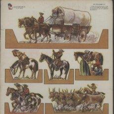 Coleccionismo Recortables: RECORTABLES ¡ZAS!, EURAMERICA. CARRETA Y VAQUEROS EN EL OESTE AMERICANO. AÑOS 1950. Lote 54117963