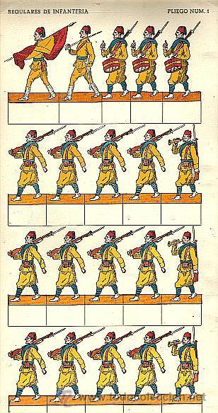 RECORTABLE DE SOLDADOS: REGULARES DE INFANTERIA (PLIEGO NUM.1) (Coleccionismo - Recortables - Soldados)