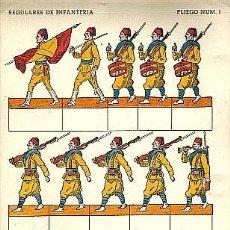 Coleccionismo Recortables: RECORTABLE DE SOLDADOS: REGULARES DE INFANTERIA (PLIEGO NUM.1). Lote 136351945