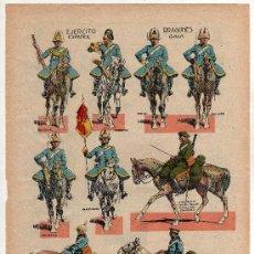 Coleccionismo Recortables: (M.C) RECORTABLE EJERCITO ESPAÑOL, DRAGONES GALA, HOJA RECORTABLE DEL TEBEO MACACO 1929. Lote 33252571