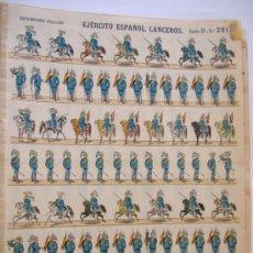 Coleccionismo Recortables: PALUZIE.EJERCITO ESPAÑOL.LANCEROS.SERIE D Nº261.BANDERA REPUBLICA. Lote 31392658