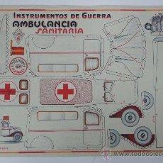 Coleccionismo Recortables: ANTIGUO RECORTABLE INSTRUMENTOS DE GUERRA - AMBULANCIA SANITARIA - NUM. 6 - ED. COSTRUCCIONES COSTAL. Lote 31624232