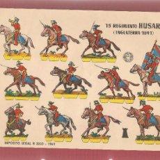 Coleccionismo Recortables: 01216 RECORTABLE SOLDADOS 15 REGIMIENTO HUSARES INGLATERRA 1841, BARCELONA 1961 25X 17,5 CM. Lote 35861641