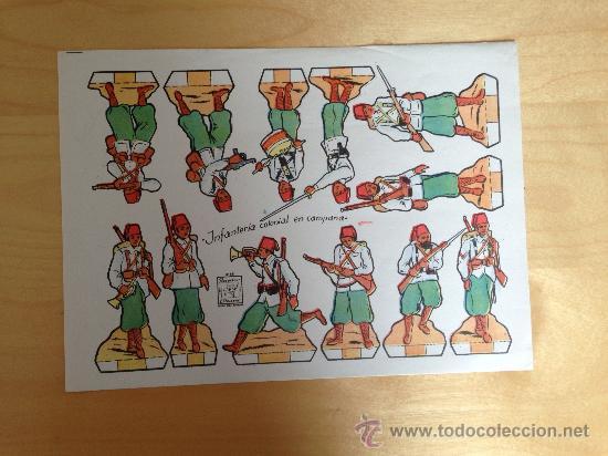 RECORTABLE DE SOLDADOS: INFANTERIA COLONIAL EN CAMPAÑA (RECORTES AZUCENA NUM.38) 25 X 18 CMS (Coleccionismo - Recortables - Soldados)