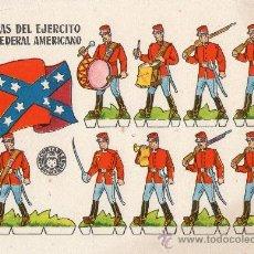 Coleccionismo Recortables: LÁMINA ORIGINAL DE RECORTABLES - TROPAS DEL EJÉRCITO CONFEDERAL AMERICANO - BRUGUERA - AÑOS 50.. Lote 222115330