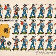 Coleccionismo Recortables: LÁMINA ORIGINAL DE RECORTABLES - SOLDADOS AUSTRALIANOS - RECORTABLES BRUGUERA - AÑOS 50.. Lote 222115282