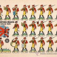 Coleccionismo Recortables: LÁMINA ORIGINAL DE RECORTABLES - INFANTERIA INGLESA (SIGLO XIX) - RECORTABLES BRUGUERA - AÑOS 50.. Lote 140912113