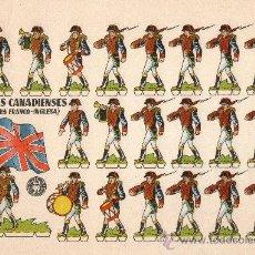 Coleccionismo Recortables: LÁMINA ORIGINAL DE RECORTABLES - TROPAS CANADIENSES (GUERRA FRANCO-INGLESA) - BRUGUERA - AÑOS 50.. Lote 140912273